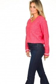 Lolly's Laundry |  V-neck sweater Aliza | red  | Picture 5