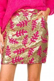 Lolly's Laundry |  Sequins mini skirt with print Aqua | pink  | Picture 7