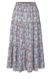Lolly's Laundry |  Maxi skirt with floral print Morning | blue  | Picture 1