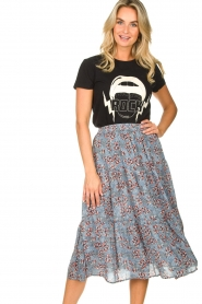 Lolly's Laundry :  Maxi skirt with floral print Morning | blue - img2