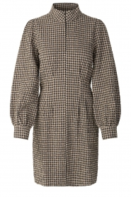 Second Female |  Checkered dress with puff sleeves Hulana | black  | Picture 1