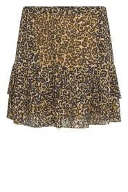 Second Female |  Leopard print skirt with ruffles Ingeborg | black  | Picture 1