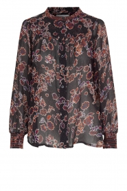 Second Female |  Blouse with floral print Miao | black  | Picture 1