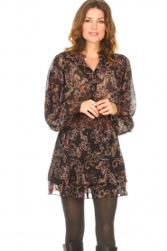 Second Female |  Blouse with floral print Miao | black  | Picture 2