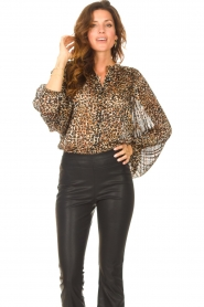 Second Female |  Leopard print blouse with Lurex Erna | black  | Picture 4