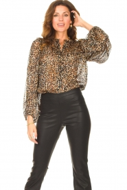 Second Female |  Leopard print blouse with Lurex Erna | black  | Picture 2