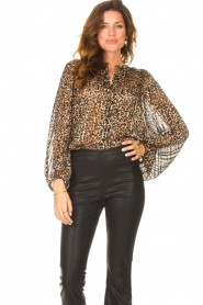 Second Female |  Leopard print blouse with Lurex Erna | black  | Picture 5