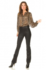 Second Female |  Leopard print blouse with Lurex Erna | black  | Picture 3