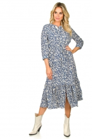 Lolly's Laundry |  Printed midi dress Anastacia | blue  | Picture 3