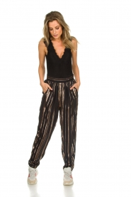 IRO |  Trousers with gold striped True Love | black  | Picture 3