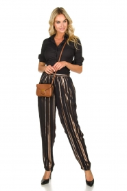 IRO |  Trousers with gold striped True Love | black  | Picture 2