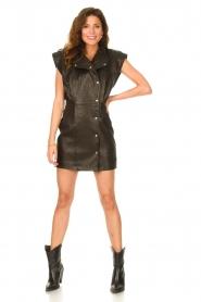 IRO |  Leren dress Anata | black  | Picture 3
