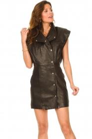 IRO |  Leren dress Anata | black  | Picture 6