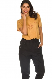 IRO |  Printed linen T-shirt Lucie | yellow  | Picture 2