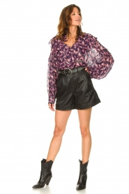IRO |  See-through blouse with lurex Tchami | purple  | Picture 3