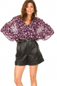 IRO |  See-through blouse with lurex Tchami | purple  | Picture 4