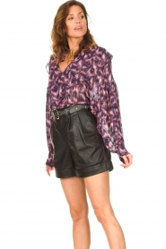 IRO |  See-through blouse with lurex Tchami | purple  | Picture 6