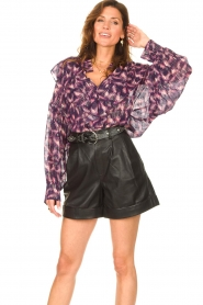 IRO |  See-through blouse with lurex Tchami | purple  | Picture 5