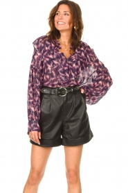 IRO |  See-through blouse with lurex Tchami | purple  | Picture 2