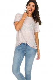 IRO |  Printed linen T-shirt Lucie | pink  | Picture 2