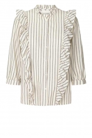 Lolly's Laundry |  Striped ruffle blouse Hanni | white  | Picture 1