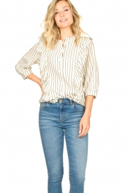 Lolly's Laundry |  Striped ruffle blouse Hanni | white  | Picture 2