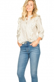 Lolly's Laundry |  Striped ruffle blouse Hanni | white  | Picture 5