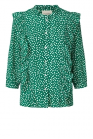 Lolly's Laundry |  Printed blouse with ruffles Hanni | green  | Picture 1