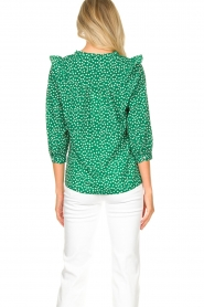 Lolly's Laundry |  Printed blouse with ruffles Hanni | green  | Picture 7