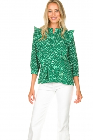 Lolly's Laundry |  Printed blouse with ruffles Hanni | green  | Picture 4