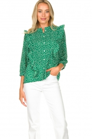 Lolly's Laundry |  Printed blouse with ruffles Hanni | green  | Picture 2