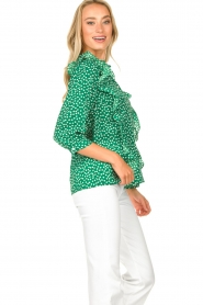 Lolly's Laundry |  Printed blouse with ruffles Hanni | green  | Picture 5