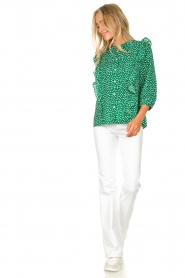 Lolly's Laundry |  Printed blouse with ruffles Hanni | green  | Picture 3