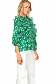 Lolly's Laundry |  Printed blouse with ruffles Hanni | green  | Picture 6