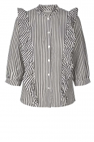 Lolly's Laundry |  Striped ruffle blouse Hanni | print  | Picture 1