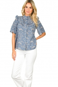 Lolly's Laundry |  Print blouse Maria | blue  | Picture 4