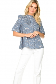 Lolly's Laundry |  Print blouse Maria | blue  | Picture 2