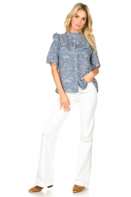 Lolly's Laundry |  Print blouse Maria | blue  | Picture 3