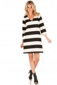 DAY Birger et Mikkelsen | V-hals jurk Clear | zwart/wit  | Afbeelding 3