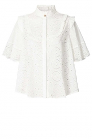 Lolly's Laundry |  Cotton ajour blouse Maria | white  | Picture 1
