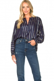 Lolly's Laundry |  Striped blouse Sadie | blue  | Picture 4