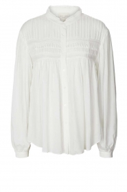 Lolly's Laundry |  Blouse with pleated details Cara | white  | Picture 1