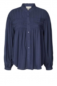 Lolly's Laundry |  Blouse with pleated details Cara | blue  | Picture 1