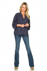 Lolly's Laundry |  Blouse with pleated details Cara | blue  | Picture 3