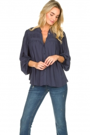 Lolly's Laundry |  Blouse with pleated details Cara | blue  | Picture 4
