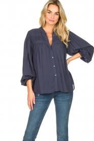 Lolly's Laundry |  Blouse with pleated details Cara | blue  | Picture 2