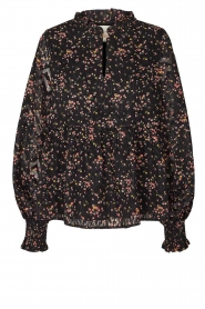 Lolly's Laundry |  Floral printed blouse Maya | black  | Picture 1