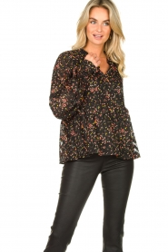 Lolly's Laundry :  Floral printed blouse Maya | black - img4