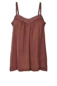 Lolly's Laundry |  Sleeveless top with lace details Hanzo | brown  | Picture 1