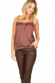 Lolly's Laundry |  Sleeveless top with lace details Hanzo | brown  | Picture 6